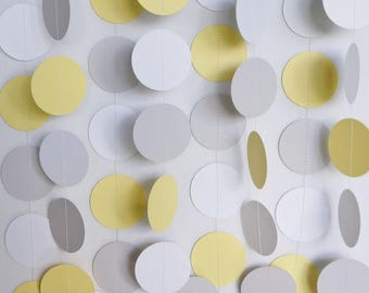 Yellow, Gray & White Circle Paper Garland, Wedding, Birthday, Baby Shower, Nursery, 10 feet long