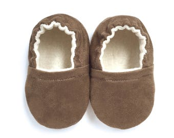 Brown Faux Suede Soft Sole Vegan Baby Shoes