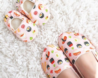 Sushi Mommy and Me Matching Shoe Set. Vegan Baby Shoes. Baby Slippers. Women's Slippers