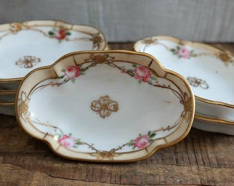 Hand Painted Nippon Pink and Gold Rose Dip Bowls