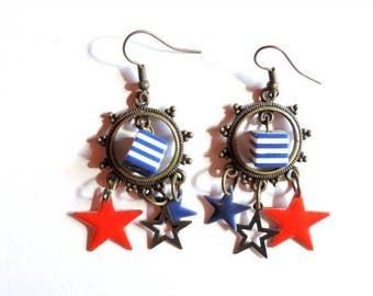Earrings - Made in America (red and blue)