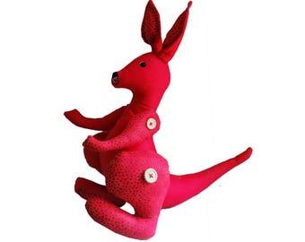 red kangaroo, painted art doll - soft sculpture