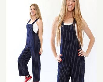 SALE Vintage 90s navy blue pinstriped overalls jumpsuit XS