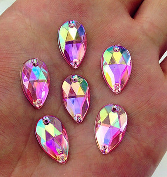 50pcs Light Pink AB 18mm*11mm Flat Back Tear Drop Sew On Acrylic Rhinestones Embellishment Gems C07