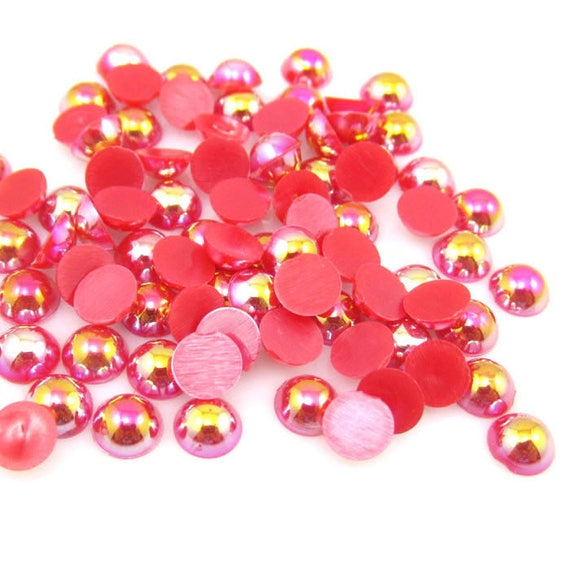 MajorCrafts® Red AB Flat Back Half Round Resin Pearls C09