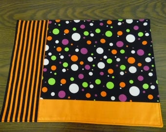 Halloween or Fall Place Setting, Set of 2 Reversible Pieced Placemats with Strips, Dots, Halloween Orange