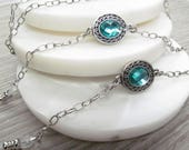 Antique silver and aqua blue glasses chain; reading glasses holder necklace; glasses leash; glasses cord; spectacles chain; eyeglasses chain