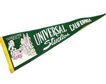 RARE California Pennant, Universal Studios Flag, Vintage 60s Hollywood CA, Old Travel Souvenir, Felt Banner Flag, Wall Hanging, Wall Art