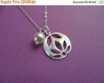 ON-SALE Bridal Gift -  Sterling Silver Cut Out Satin Flower and Pearl Necklace, Flower Girl Gift, Bridesmaid Necklace