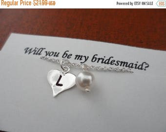 ON-SALE Heart and Pearl - Custom Initial, Heart Charm, Sterling Silver, Bridesmaids Gifts, Birthstone, Valentines Gifts