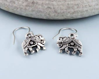 Elephant Earrings, silver elephant earrings, strength, luck