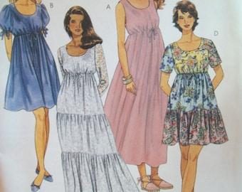 Vintage Peasant Dress in Two Lengths 1990s McCalls Pattern 7492 Uncut Pattern Sizes 12-14