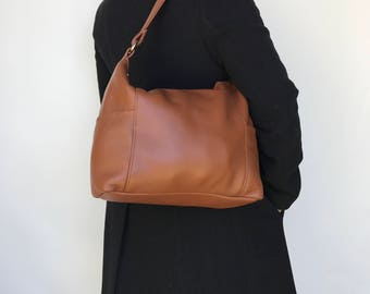 Brown Leather Bag, Fashion Women Purse, Everyday Shoulder Handbag, Kenia