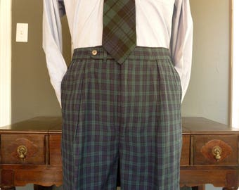 ULTRA RARE Vintage BLACKWATCH 100% Cotton Seersucker Check Plaid Trousers w/ Side Tab Adjusters W 36 L 28.