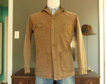 DISCONTINUED Vintage Carhartt Sandstone Brown Duck Chore Coat / Work Jacket Size Small.  Made in USA.