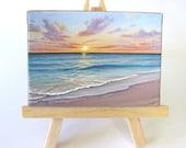 2.5x3.5 Ocean Sunrise Naples Florida Mini Painting by J. Mandrick