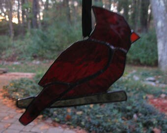 Stained Glass Red Cardinal Bird