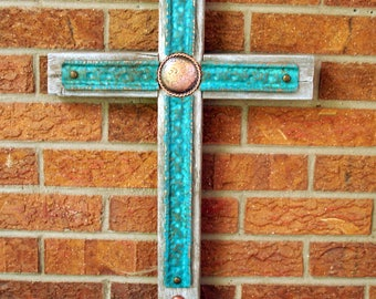 mixed media cross, mission cross, western cross, southwest cross