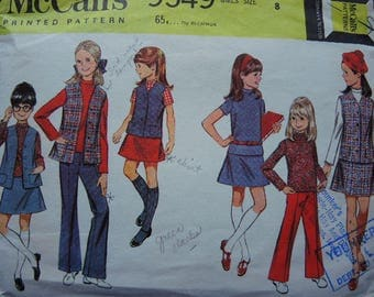 vintage 1960s McCalls sewing pattern 9549 girls separates: blouse vest pants and skirt size 8