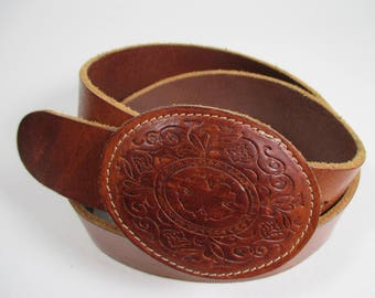 Vintage Punto Fibbia Leather Belt Country Western Belt Tooled Leather Belt Leather Buckled Belt Vtg Brown Leather Belt Made In Italy Sz L