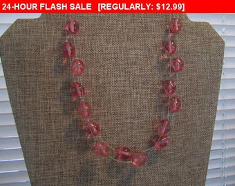 vintage pink beads, bead necklace, multistrand beads, hippie, boho