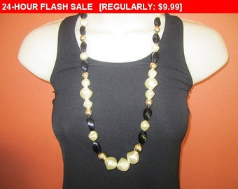 Black and white bead necklace, estate jewelry