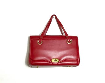 Large Vintage Cherry Red Purse 50's 60's Red Faux Leather Purse Large Vinyl Housewife Granny Rockabilly Queen 1950s 1960s 1970s Tote
