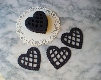 Pretty Black Scalloped Lattice Lace Paper Hearts, Die Cut Hearts, Scrap booking, Showers,Weddings,Party Table Confetti, Martha Stewart