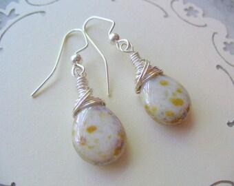 Opaque Cream Earrings, Wire Wrapped Earrings,Tan Blue Earrings, Drop Earrings, Cream Jewelry, Wire Wrapped Jewelry, Handmade Dangle Earrings