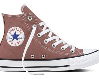 Rose Brown Converse High Top Chocolate Milk Canvas Bling Custom w/ Swarovski Crystal Rhinestone Kicks Chuck Taylor All Star Sneakers Shoes