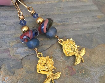 Brass rose earrings, artisan deco lampwork earrings, vintage periwinkle glass
