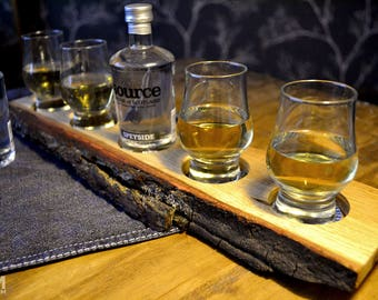 Oak Whisky Tray with 4 nosing glasses and Source water - Shot Tasting Flight Board