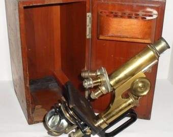 ON SALE Antique Reichert Wein Brass Monocular Microscope Jug Handle in Dovetailed Wood Case. Made in 1917 with one Leitz objective