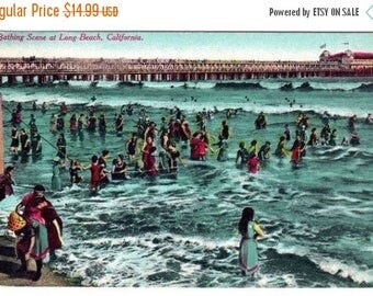 ON SALE Antique Vintage Edwardian Color Photo Postcard Bathing Scene Long Beach California On The Road of a 1000 Wonders 1911