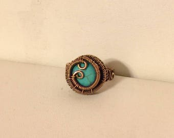 Copper wite wrapped ring with magnesite cabochon size 8