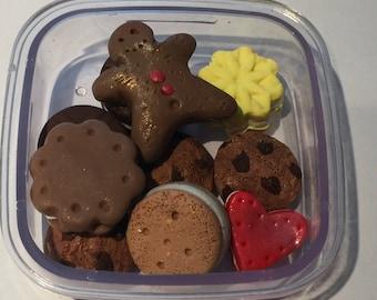 polymer clay cookies,American girl food, resin teacups, ceramic teacups, handmade resin tea, play food, American girl accessories,doll house
