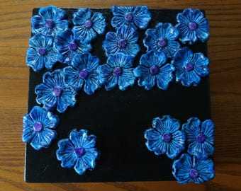Decorative Keepsake Box - Black with Handmade Blue/Purple Clay Flowers