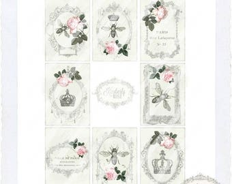 Shabby Bee/Paris Vintage Ephemera Gift Tags  ....Instant Digital Download
