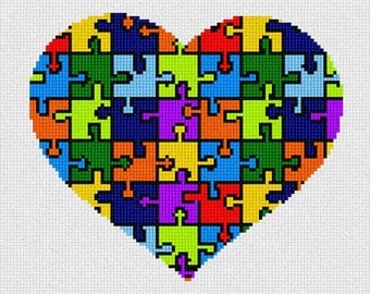 Needlepoint Kit or Canvas: Heart Puzzle
