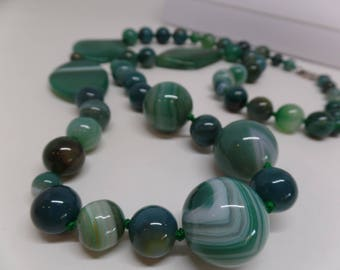 Fabulous Vintage Green Slag Glass Necklace with Sterling Clasp