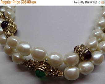 ON SALE GIVENCHY Signed Vintage Pearl and Cabochon Long Mogul Necklace