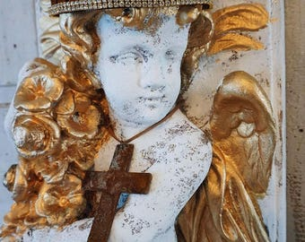 Crowned cherub wall hanging large French chic relief shabby cottage chic heavy antique plaque hand painted distressed Anita Spero Design