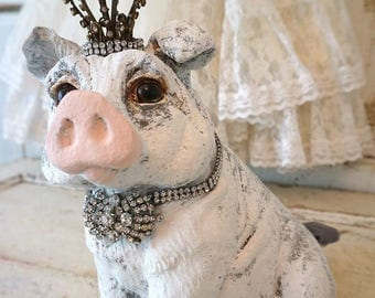 Rustic farmhouse pig statue with crown wide eyed gray white vintage hog statuary embellished ornate rhinestone home decor anita spero design