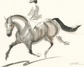 """Horse Art, Painting, Pony Dressage, Original Watercolor by Anna Noelle Rockwell, """"Keep Forward"""""""
