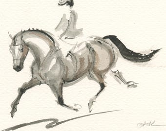 "Horse Art, Painting, Pony Dressage, Original Watercolor by Anna Noelle Rockwell, ""Keep Forward"""