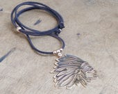 Leather necklace - head of Indian - Bahia Del Sol - bohostyle - hippie - gypsy - Ibiza - leather jewelery - gypsystyle - beach jewels