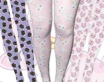 Kawaii Cat Heads Tights Fairy Kei Cat Tights Cat Stockings Kitten Kitty Pattern Multicolor Size XS Through 3XL *MADE 2 ORDER, Month*