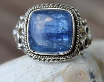 Silver stone ring semi precious kyanite blue Pearlescent
