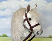 Hobby Horsing smaller dapple grey hobby horse (stick horse) top quality with removable leather bridle. For younger children.