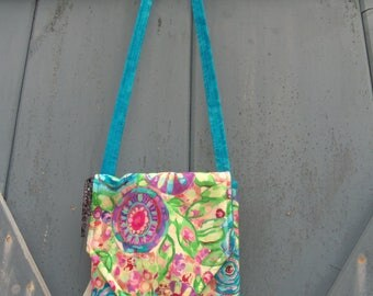 Messenger Bag/   Cross Over Bag/  Teal Pouch /  Cell Phone Pouch